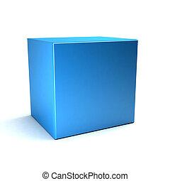 blu, cubo bianco, isolato, fondo