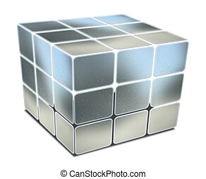 blu, cubo, metallo, textured, lacune