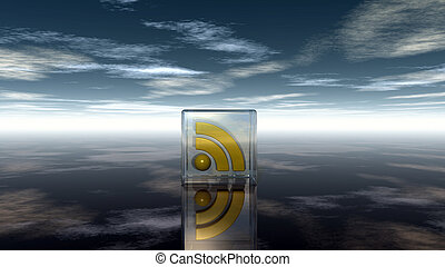 blu, cubo, -, simbolo, cielo, nuvoloso, vetro, illustrazione, sotto, rss, 3d