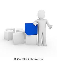 blu, cubo, umano, 3d