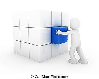 blu, cubo, umano, affari, 3d