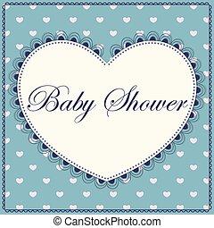 blu, cuore, acquazzone bambino, vendemmia
