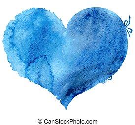 blu, cuore, bordo, acquarello, laccio