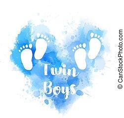 blu, cuore, ingombri, acquarello, bambino