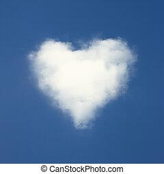 blu, cuore, nubi, modellato, cielo, fondo.