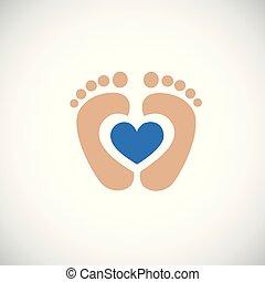 blu, cuore, orma, piedi, bambino