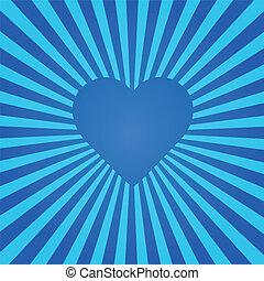 blu, cuore, sunburst