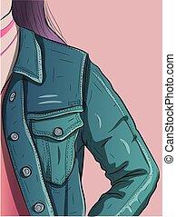 blu, denim, stile, jacket., urbano, immagine, donna, il portare, jeans, abbigliamento, fine