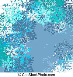 blu, differente, luce inverno, fondo, fiocchi neve