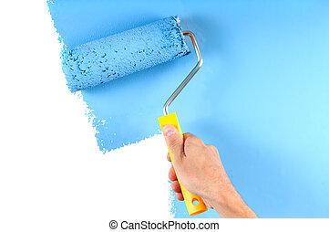 blu, dipinto colore, rullo, parete