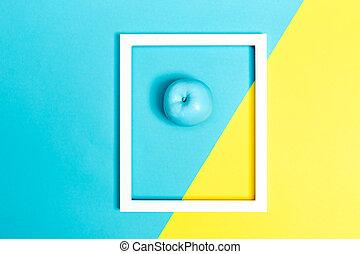 blu, dipinto, luminoso, mela, fondo