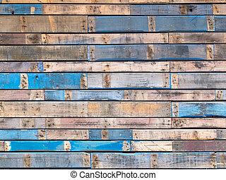 blu, dipinto, parteggiare, legno, esterno, grungy, assi