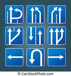 blu, direzione, traffico firma