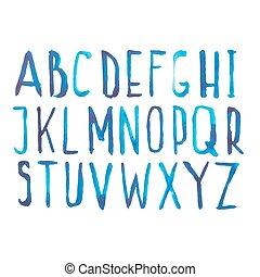 blu, disegnare, abc, lettere, scarabocchiare, illustrazione, mano, acquarello, vettore, numeri, alfabeto, font, tipo, aquarelle, scritto mano