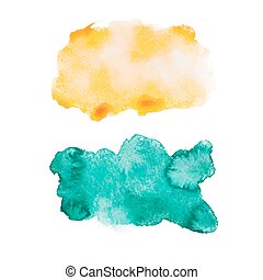 blu, disegnare, arte, colorito, splatter, astratto, watercolour, mano, vernice, vettore, verde, illustrazione, fondo, aquarelle, bianco, macchia