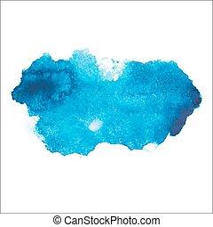 blu, disegnare, arte, colorito, splatter, astratto, watercolour, mano, vernice, vettore, illustrazione, fondo, aquarelle, bianco, macchia
