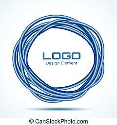 blu, disegnato, cerchio, materiale, mano