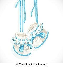 blu, doccia, scheda, bambino, laccio, bottini