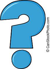 blu, domanda, cartone animato, marchio