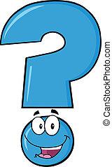 blu, domanda, felice, carattere, marchio