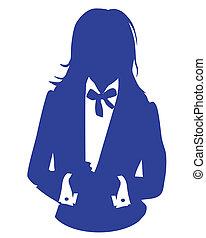 blu, donna, avatar, causa affari