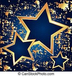 blu, dorato, astrazione, fondo, stelle