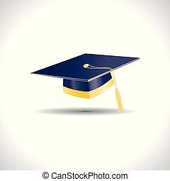 blu, dorato, berretto, elementi, educazione