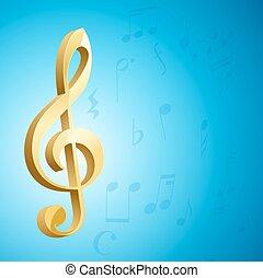 blu, dorato, g, sopra, musicale, fondo., vettore, chiave, chiave, note