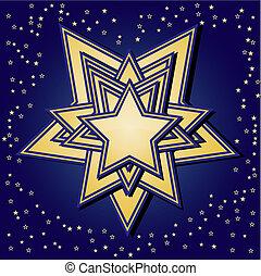 blu, dorato, stelle, fondo
