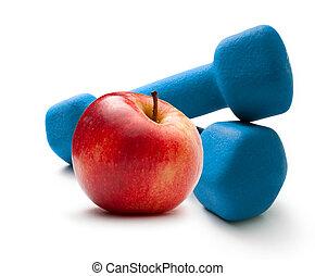 blu, dumbbells, mela, rosso