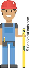 blu, duro, righello, character., lavoratore, giallo, uniforme, misura, cappello