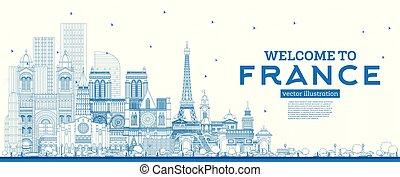blu, edifici., benvenuto, francia, orizzonte, contorno