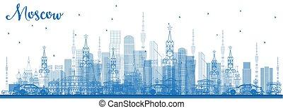 blu, edifici., mosca, orizzonte, russia, contorno
