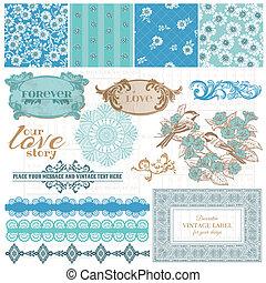 blu, elementi, vendemmia, -, vettore, disegno, album, fiori