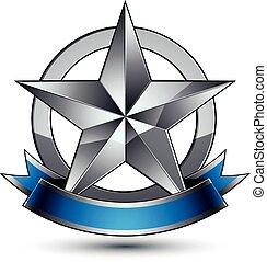 blu, emblema, sofisticato, vettore, lucido, wav, stella, argento