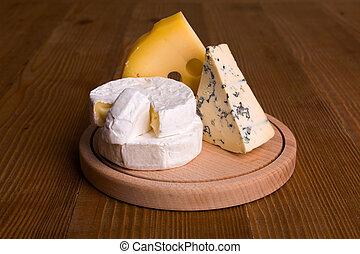 blu, emmental, formaggio, formaggio, camembert