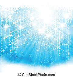 blu, (eps10), luce festiva, sfavillante, fondo