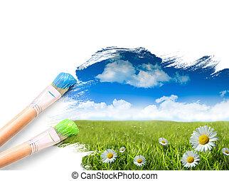 blu, erba selvaggia, cielo, margherite