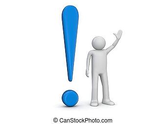 blu, esclamazione, 3d, umano, marchio