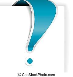blu, esclamazione, bianco, bordo, marchio