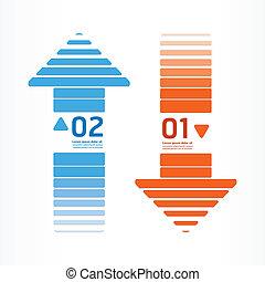 blu, essere, usato, disposizione, colorare, frecce, /, sito web, bandiere, grafico, vettore, lattina, infographics, arancia, linea, numerato, o