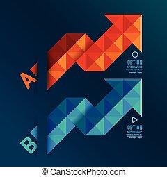 blu, essere, usato, disposizione, colorare, frecce, /, sito web, bandiere, grafico, vettore, lattina, infographics, geometrico, numerato, o, rosso