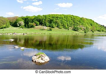 blu, estate, nature., fiume