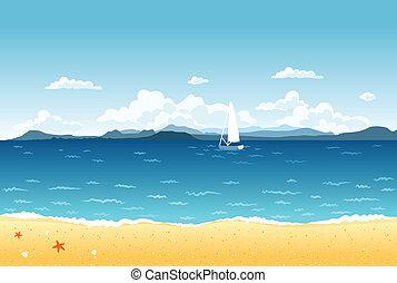 blu, estate, navigazione, montagne, paesaggio, mare, barca, horizon.
