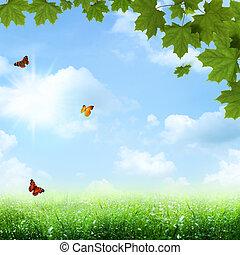 blu, estate, primavera, astratto, sfondi, sotto, skies.