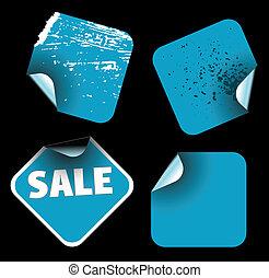 blu, etichette, quadrato