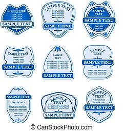 blu, etichette, set