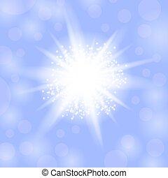 blu, explosion., stella, starburst, sfavillante, ardendo, fondo, luce, scintille