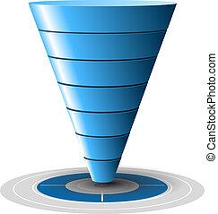 blu, facilmente, conversione, vendite, bersaglio, livelli, customizable, 1, tones., vettore, più, 7, graphics., imbuto, o