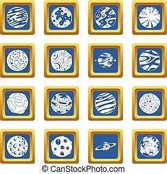 blu, fantastico, set, pianeti, icone